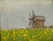 Texture Metal Prints - Wooden Windmill.  Kizhi Island.  Russia Metal Print by Juli Scalzi