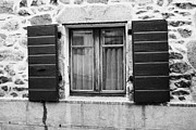 Wooden Building Framed Prints - Wooden Window Shutters On Old Historic Stone House Mont-louis Pyrenees-orientales France Framed Print by Joe Fox