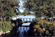 Williams Photo Originals - Woodfoot Bridge of Williams Bay WI over Geneva Lake  by Jane Butera Borgardt