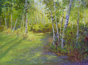 Area Pastels Prints - Woodland Glow Print by Christine Bass