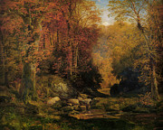 Thomas Moran Prints - Woodland Interrior With Rocky Stream Print by Thomas Moran
