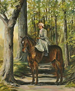 Riding Habit Prints - Woodland Path Print by Beth Munnings
