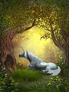 Foal Framed Prints - Woodland Unicorn Framed Print by Corey Ford