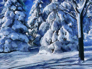Snowy Trees Paintings - Woodland winter landscape by Georgi Dimitrov