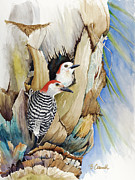Woodpeckers Paintings - Woodpeckers by Barbara Carswell