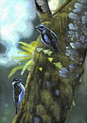 Woodpeckers Paintings - Woodpeckers by Becca Engdahl