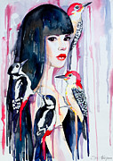 Indian Mixed Media Prints - Woodpeckers Print by Slaveika Aladjova