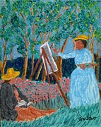 Monet Drawings Posters - Woods at Giverny Poster by Irving Starr