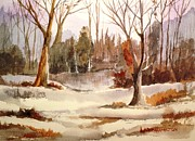 Snow Scene Painting Originals - Woods by the Lake by Larry Hamilton