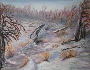 Snow-covered Landscape Painting Posters - Woods in Mid-Winter Poster by Laurel  McCallum