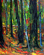 Colors Of Autumn Painting Prints - Woods On Fire Print by Charlie Spear
