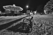 Small Towns Prints - Woodstock square xmas eve nite Print by Sven Brogren