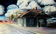 Lamp Post Drawings Framed Prints - Woodstock Station Framed Print by DA Neace