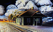 Train Drawings Originals - Woodstock Station by David Neace