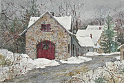 New England Village  Paintings - Woodstock Stone by Sherri Crabtree
