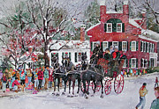 New England Snow Scene Painting Framed Prints - Woodstock Wassail Parade Framed Print by Sherri Crabtree