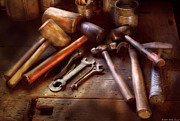 Machinist Posters - Woodworker - A Collection of Hammers  Poster by Mike Savad