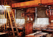 Ladders Prints - Woodworker - Old Workshop Print by Mike Savad