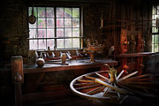 Wood Wheel Framed Prints - Woodworker - The wheelwright shop  Framed Print by Mike Savad