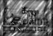 Monochrome Prints - Woodworker - Wood Working Tools Print by Mike Savad