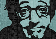 Film Star Mixed Media Prints - Woody Allen and Quotes Print by Tony Rubino