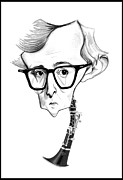 Clarinet Digital Art - Woody Allen Illustration by Diego Abelenda