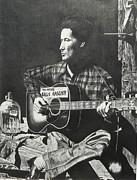 Music Drawings Framed Prints - Woody Guthrie Framed Print by Charles Rogers