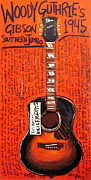 Acoustic Guitar Paintings - Woody Guthrie Gibson SJ by Karl Haglund