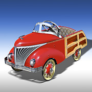 Hot Rod Digital Art Posters - Woody Peddle Car Poster by Mike McGlothlen