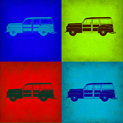 Old Mixed Media Metal Prints - Woody Wagon Pop Art 1 Metal Print by Irina  March