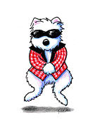 Funny Dog Drawings - Woof em Gingham Style by Kim Niles
