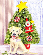 Puppies Paintings - Woof Merry Christmas by Irina Sztukowski