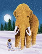 Storybook Framed Prints - Woolly Mammoth Dream Framed Print by Amalou Studio
