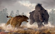 Paleoart Prints - Woolly Rhino and Cave Lion Print by Daniel Eskridge