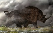 Dinosaurs Digital Art Posters - Woolly Rhinoceros Poster by Daniel Eskridge