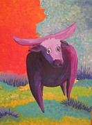 Bulls Painting Originals - Wooly Bully by Patty Rebholz