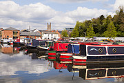 Editorial Photo Framed Prints - Worcester Diglis Basin Narrow Boats Framed Print by Colin and Linda McKie