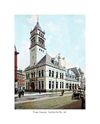 1907 Digital Art Prints - Worcester Massachusetts - United States Post Office - 1907 Print by John Madison
