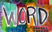 Word- Colorful Abstract Pop Art Print by Linda Woods