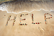 Girlfriend Art - Word HELP on beach sand by Michal Bednarek
