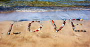 Beautiful Words Posters - Word LOVE on beach sand Poster by Michal Bednarek