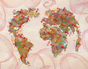 Abstract World Map Prints - Word Map digital art Print by Georgeta  Blanaru