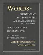 Good And Evil Prints - Words Print by Marianne Beukema