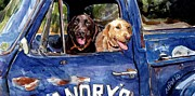 Retrievers Paintings - Work and Play by Molly Poole