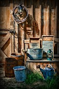 Wash Board Framed Prints - Work at the Farm Framed Print by Paul Ward