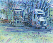 Truck Drawings Framed Prints - Work Buddies Framed Print by Donald Maier