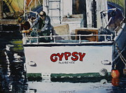 Docked Boat Painting Prints - Work on the Gypsy Print by Doug Davies