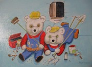 Teddy Bears Mixed Media - Workbears by Laura Laughren