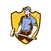 Industrial Digital Art Prints - Worker Wielding Sledgehammer Crest Retro Print by Aloysius Patrimonio