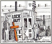 Justice Drawings - Workers Bear Their Cross  by Ray Tapajna